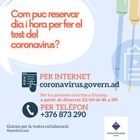 Inscripció per a realitzar el test immunològic del coronavirus