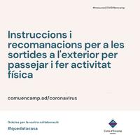 Instruccions i recomanacions per a les sortides a l'exterior per passejar i fer activitat física
