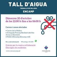 Avís per tall d'aigua, avui a la nit, al carrer de la Molina, a l'avinguda Príncep Benlloch i al Poblet d'Encamp