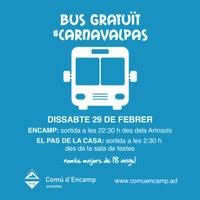 Bus gratuït des d'Encamp per pujar al Carnaval del Pas de la Casa la nit de dissabte