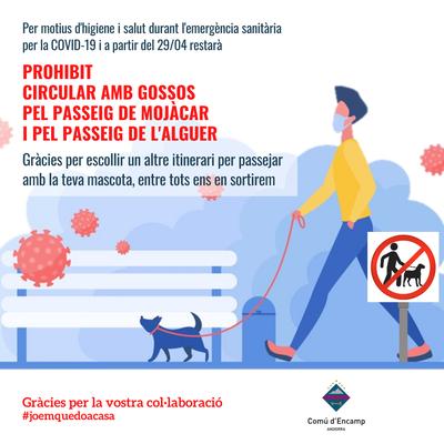 Com a mesura d'higiene i salut els gossos no podran circular pels Passeig de Mojàcar i de l'Alguer