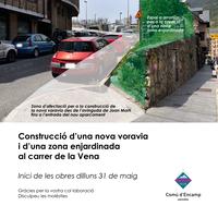 Dilluns s'inicien les obres de construcció d'una nova voravia i d'una zona enjardinada al carrer de la Vena