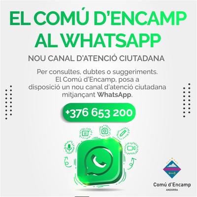 El Comú d'Encamp posa en marxa un nou canal de comunicació via WhatsApp (653 200), per enviar i rebre informació de la ciutadania