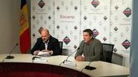 El cònsol major, Jordi Torres, i Àlex Arnó, durant la roda de premsa d'aquest dijous.