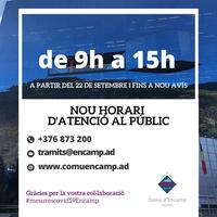 El comú d'Encamp obrirà les oficines d'atenció al públic de 9 h a 15 h fins a nou avís per la situació sanitària