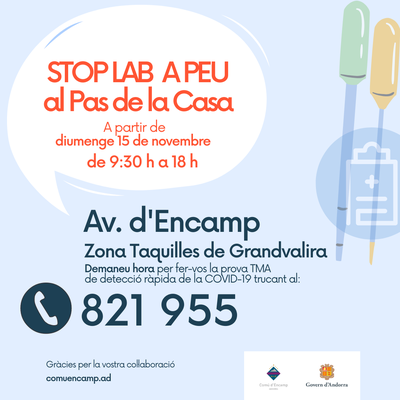 L'Stop Lab a peu al Pas de la Casa a partir de diumenge
