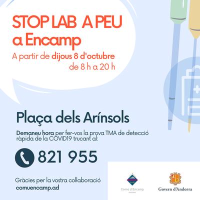 L'Stop Lab a peu a Encamp s'ubicarà a la Plaça dels Arínsols i cal demanar hora al 821955 per fer-se la prova