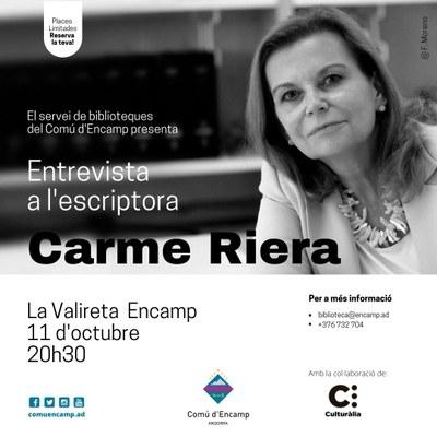La Valireta d'Encamp acull una entrevista en directe amb l'escriptora Carme Riera