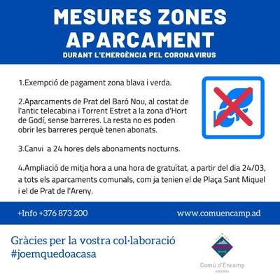 Mesures zones d'aparcament