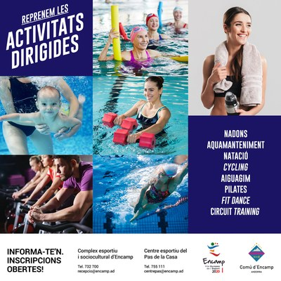 Obertes les inscripcions per a les activitats dirigides i aquàtiques d'abril a juny dels centres esportius d'Encamp i del Pas de la Casa