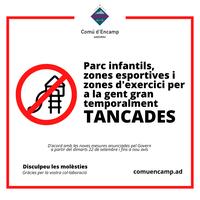 Tancament dels parcs infantils a partir de demà com a mesura preventiva per la pandèmia de coronavirus