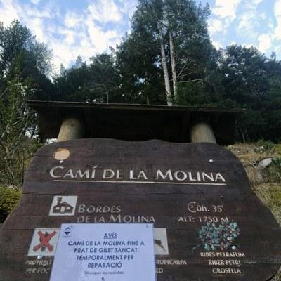 Un despreniment de roques obliga a tallar, durant quinze dies, l'accés al camí de la Molina cap a Prat de Gilet